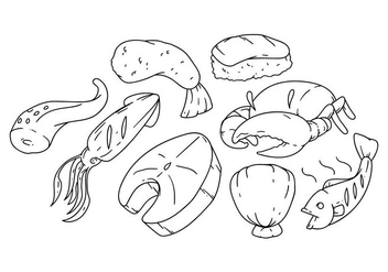 Free Hand Drawing Seafood Icon Vector - vector gratuit #380693