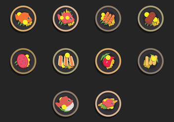 Fish Fry Food Icon Set - vector gratuit(e) #380733