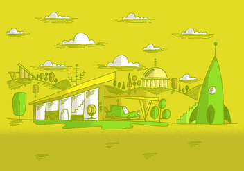 Midcentury Future Landscape Vector - Kostenloses vector #381163