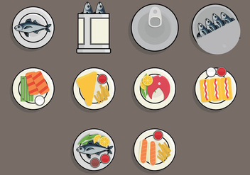 Fish Fry Food Icon Set - vector gratuit(e) #381193