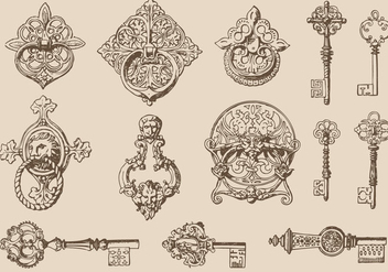 Keys And Door Knockers - vector gratuit #381243