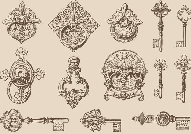 Keys And Door Knockers - Free vector #381243