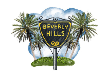 Free Beverly Hills Watercolor Vector - vector gratuit #381543