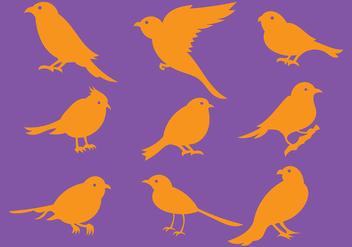 Orange Bird Silhouette Icons Vector - Free vector #381573