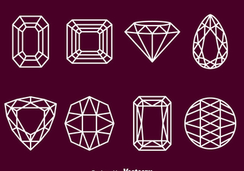 Gems Stone Outline Icons - vector #382123 gratis