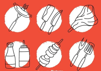 Barbecue Hand Drawn Icons - vector gratuit #382583