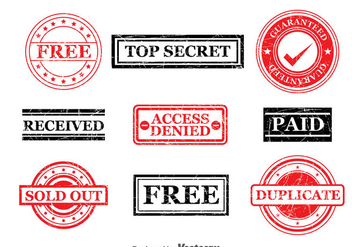 Red And Black Stamp Vector Set - Free vector #382813