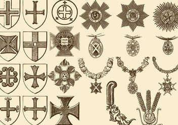 Vintage Crosses And Medals - vector gratuit #382913