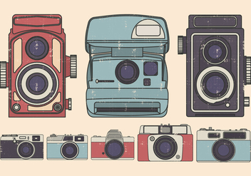 Vintage Camera Illustration set - vector gratuit #383213
