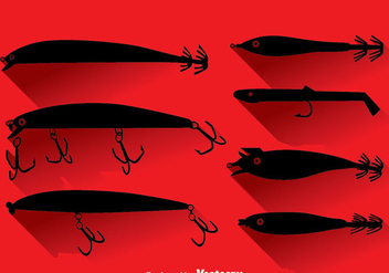 Silhouette Fishing Lure Vector Set - Free vector #383333