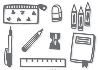 Hand Drawn Stationary Vector - Free vector #383353