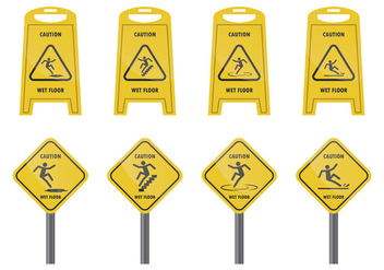 Warning Sign For Wet Floor - vector gratuit #383583