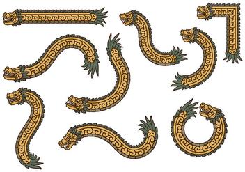 Gold Quetzalcoatl Vectors - Kostenloses vector #383843