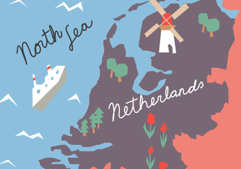 Colorful Holland Map - vector #384283 gratis
