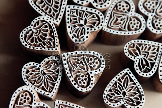 Wooden stamps in the shape of hearts - Free image #385163