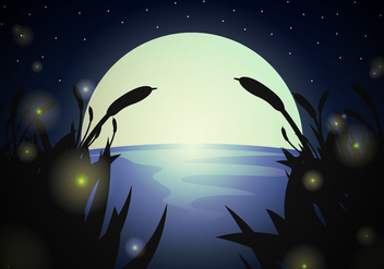 Firefly Landscape Night Vector - Free vector #385443