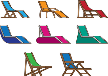 Set Of Deck Chair Vector - Free vector #385723