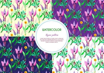 Purple Flower and Thyme Vector Patterns - Free vector #386043