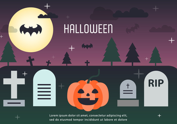 Pumpkin Halloween Graveyard Vector Illustration - Free vector #386753