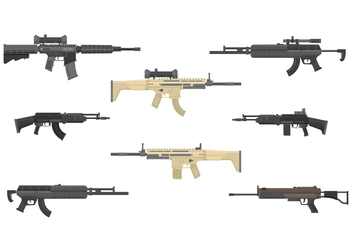 Free Assault Rifles Vector - бесплатный vector #387273