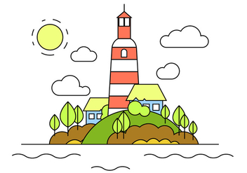 Lighthouse Hill Vector Illustration - бесплатный vector #387283