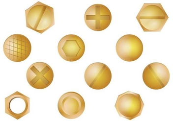 Gold Nail Head Vector Set - vector gratuit #387463
