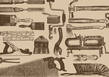 Vintage Carpenter Tools - Free vector #387503
