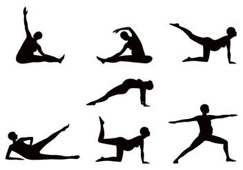 Pregnancy Yoga Sillhouette - Free vector #387573