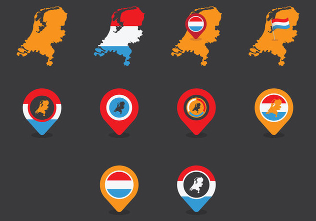 Netherlands Map Icon Set - бесплатный vector #387703