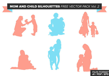 Mom And Child Silhouettes Free Vector Pack Vol. 2 - Free vector #387763