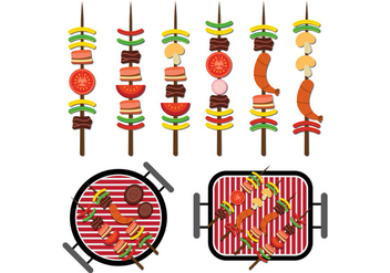 Brochette Icons Vector - бесплатный vector #388003