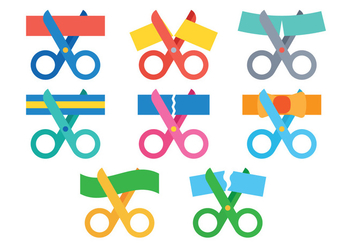 Ribbon Cutting Vector - vector gratuit #388313