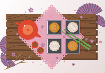 Mooncake Dessert Vector - бесплатный vector #388403