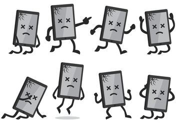 Cartoon Broken Smartphone - бесплатный vector #388833