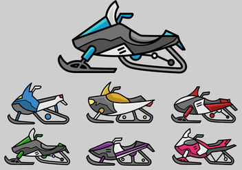 Colorful snowmobile icon vector pack - Free vector #388893