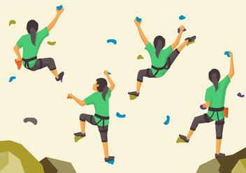 Woman sporty climbing wall pose - бесплатный vector #388943