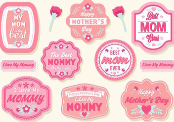 Free Mother's Day Badges Vector - Kostenloses vector #389053