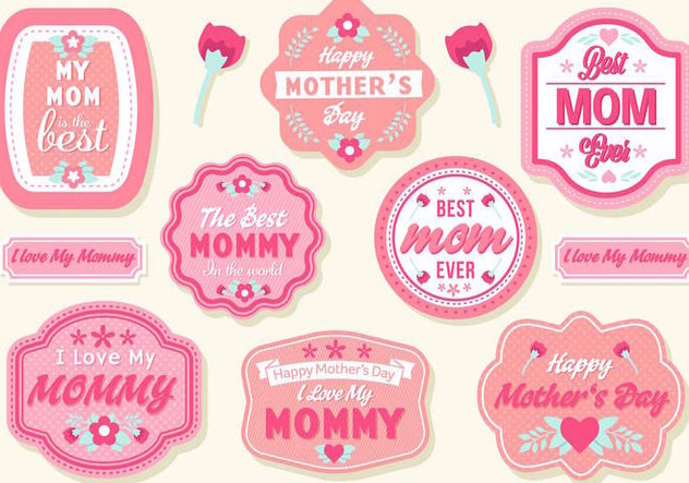 Free Mother's Day Badges Vector - Free vector #389053