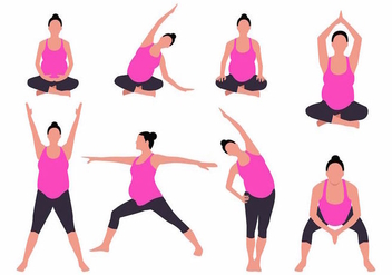 Free Yoga for Pregnant Woman Vector Illustration - Kostenloses vector #389083