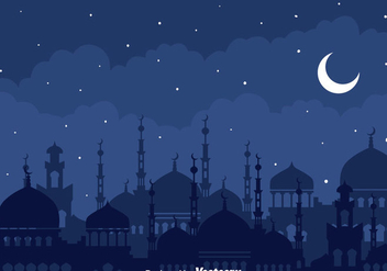 Arabian Night With Mosque Background - бесплатный vector #389183
