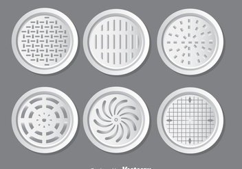 Metal Manhole Covers Vector Set - Free vector #389213