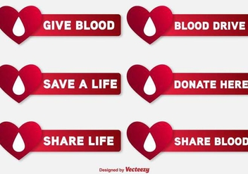 Blood Drive Vector Labels - vector gratuit #389533