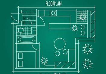 Simple House Floorplan Vector - Free vector #389563