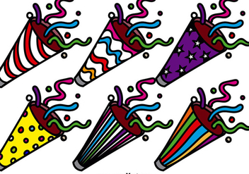 Colorful Party Popper Vector Icon Set - Free vector #389573