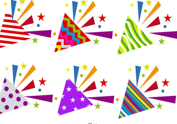 Vector Set Of Party Popper Icons - Free vector #389613