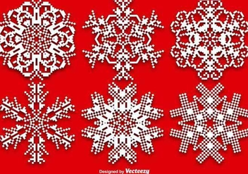 Vector Set Of Pixelated Snowflakes - Kostenloses vector #389633