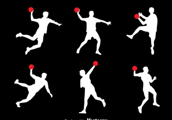 Silhouette Handball Player Vector Set - Free vector #389893