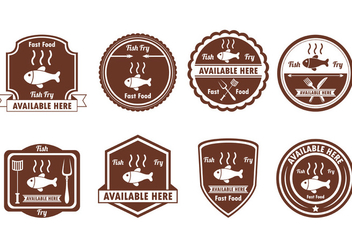 Set Of Fish Fry Badge - vector gratuit(e) #390323