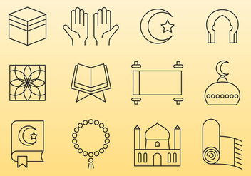 Islamic Line Icons - Free vector #390423