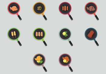 Fish Fry Icon Set - vector gratuit #390483